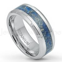8mm Polished Comfort Fit Titanium Wedding Ring with Royal Blue Specks Riverstone Inlay TM573PL