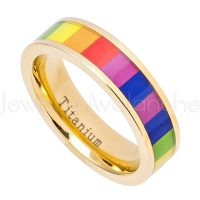 Gay Pride Titanium Ring - 6mm Polished Finish Yellow Gold Plated Comfort Fit Pipe Cut Titanium Wedding Band with Rainbow Color inlay TM590PL