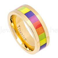 Gay Pride Titanium Ring - 8mm Polished Finish Yellow Gold Plated Comfort Fit Pipe Cut Titanium Wedding Band with Rainbow Color inlay TM591PL