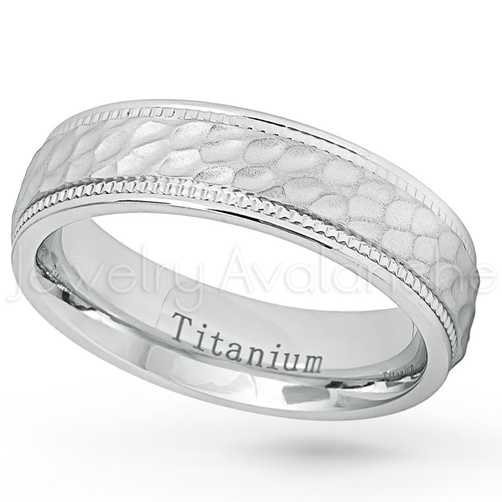 Hammered Finish Bands: Hammered Finish Titanium Wedding Band