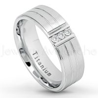 3-stone CZ Titanium Wedding Band - 7mm Satin Finish Comfort Fit Grooved White Titanium Ring - Anniversary Band TM645PL