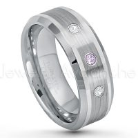 0.21ctw Amethyst & Diamond 3-Stone Tungsten Ring - February Birthstone Ring - 8mm Polished & Brushed Finish Comfort Fit Beveled Edge Tungsten Carbide Wedding Ring TN002-AMT