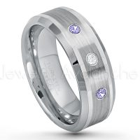 0.21ctw Diamond & Tanzanite 3-Stone Tungsten Ring - December Birthstone Ring - 8mm Polished & Brushed Finish Comfort Fit Beveled Edge Tungsten Carbide Wedding Ring TN002-TZN