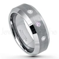 0.21ctw Amethyst & Diamond 3-Stone Tungsten Ring - February Birthstone Ring - 8mm Tungsten Wedding Band - Brushed Finish Comfort Fit Tungsten Carbide Ring - Beveled Edge Tungsten Anniversary Ring TN003-AMT