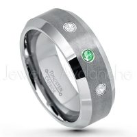 0.21ctw Tsavorite & Diamond 3-Stone Tungsten Ring - January Birthstone Ring - 8mm Tungsten Wedding Band - Brushed Finish Comfort Fit Tungsten Carbide Ring - Beveled Edge Tungsten Anniversary Ring TN003-TVR