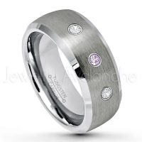 0.21ctw Amethyst & Diamond 3-Stone Tungsten Ring - February Birthstone Ring - 8mm Tungsten Wedding Band - Brushed Finish Semi-Dome Comfort Fit Tungsten Carbide Ring - Beveled Edge Tungsten Anniversary Ring TN007-AMT