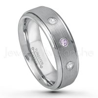 0.21ctw Amethyst & Diamond 3-Stone Tungsten Ring - February Birthstone Ring - 6mm Tungsten Wedding Band - Brushed Finish Comfort Fit Tungsten Carbide Ring - Stepped Edge Tungsten Anniversary Ring TN008-AMT