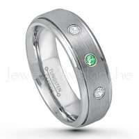 0.21ctw Tsavorite & Diamond 3-Stone Tungsten Ring - January Birthstone Ring - 6mm Tungsten Wedding Band - Brushed Finish Comfort Fit Tungsten Carbide Ring - Stepped Edge Tungsten Anniversary Ring TN008-TVR