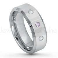 0.21ctw Amethyst & Diamond 3-Stone Tungsten Ring - February Birthstone Ring - 8mm Tungsten Wedding Band - Polished Finish Beveled Edge Comfort Fit Tungsten Carbide Ring - Anniversary Ring TN009-AMT