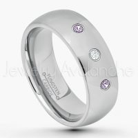 0.21ctw Amethyst & Diamond 3-Stone Tungsten Ring - February Birthstone Ring - 8mm Comfort Fit Tungsten Wedding Band - Polished Finish Classic Dome Tungsten Carbide Ring - Men's Tungsten Anniversary Ring TN013B-AMT