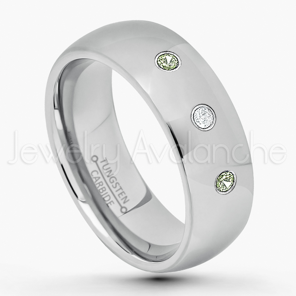 8MM Polished Classic Dome Comfort Fit Tungsten Carbide Wedding Band Jewelry Avalanche 0.21ctw Pink Tourmaline /& Diamond 3-Stone Tungsten Ring