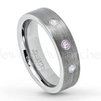 0.21ctw Amethyst & Diamond 3-Stone Tungsten Ring - February Birthstone Ring - 6mm Tungsten Wedding Band - Brushed Finish Comfort Fit Classic Pipe Cut Tungsten Ring - Tungsten Anniversary Ring TN019-AMT
