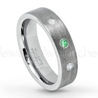 0.21ctw Tsavorite & Diamond 3-Stone Tungsten Ring - January Birthstone Ring - 6mm Tungsten Wedding Band - Brushed Finish Comfort Fit Classic Pipe Cut Tungsten Ring - Tungsten Anniversary Ring TN019-TVR