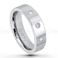 0.21ctw Amethyst & Diamond 3-Stone Tungsten Ring - February Birthstone Ring - 6mm Pipe Cut Tungsten Ring - Comfort Fit Tungsten Carbide Wedding Ring - Polished Finish Tungsten Ring TN020-AMT