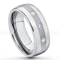 0.21ctw Amethyst & Diamond 3-Stone Tungsten Ring - February Birthstone Ring - Tungsten Wedding Band - 8mm Polished and Brushed Center Comfort Fit Dome Tungsten Carbide Ring - Men's Anniversary Ring TN022-AMT