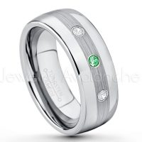 0.21ctw Tsavorite & Diamond 3-Stone Tungsten Ring - January Birthstone Ring - Tungsten Wedding Band - 8mm Polished and Brushed Center Comfort Fit Dome Tungsten Carbide Ring - Men's Anniversary Ring TN022-TVR