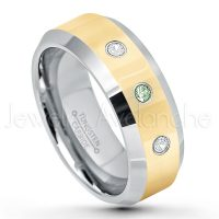 0.21ctw Alexandrite & Diamond 3-Stone Tungsten Ring - June Birthstone Ring - 2-Tone Tungsten Wedding Band - 8mm Polished Yellow Gold Plated Center Comfort Fit Dome Tungsten Carbide Ring - Anniversary Ring TN024-ALX