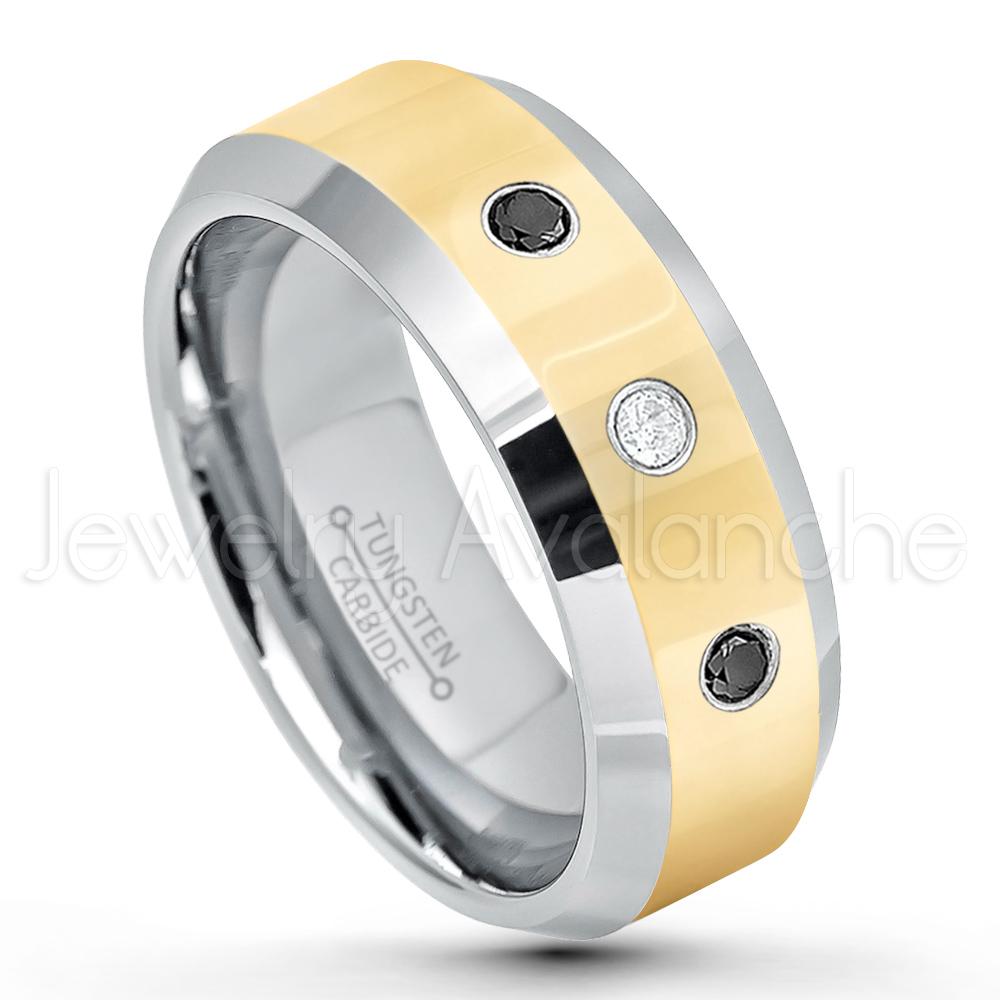 April Birthstone Ring 8MM Comfort Fit Polished Dome White Titanium Wedding Band 0.21ctw Diamond 3-Stone Titanium Ring