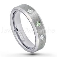 0.21ctw Alexandrite & Diamond 3-Stone Tungsten Ring - June Birthstone Ring - 6mm Tungsten Wedding Band - Brushed Finish Comfort Fit Beveled Edge Tungsten Carbide Ring - Tungsten Anniversary Ring TN038-ALX