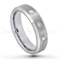 0.21ctw Amethyst & Diamond 3-Stone Tungsten Ring - February Birthstone Ring - 6mm Tungsten Wedding Band - Brushed Finish Comfort Fit Beveled Edge Tungsten Carbide Ring - Tungsten Anniversary Ring TN038-AMT