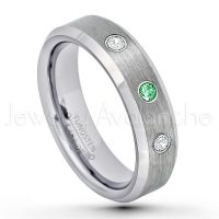 0.21ctw Tsavorite & Diamond 3-Stone Tungsten Ring - January Birthstone Ring - 6mm Tungsten Wedding Band - Brushed Finish Comfort Fit Beveled Edge Tungsten Carbide Ring - Tungsten Anniversary Ring TN038-TVR