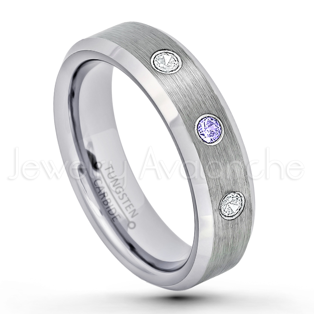 6mm Tungsten Ring Stepped Edge Tungsten Anniversary Ring TN085BS Brushed Finish Black Ion Plated Comfort Fit Tungsten Carbide Wedding Ring