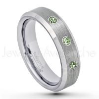 October Birthstone Ring 0.21ctw Green Tourmaline /& Diamond 3-Stone Anniversary Band 6mm Brushed Finish Comfort Fit Classic Pipe Cut Tungsten Wedding Ring