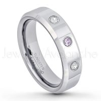 0.21ctw Amethyst & Diamond 3-Stone Tungsten Ring - February Birthstone Ring - 6mm Tungsten Wedding Band - Polished Finish Comfort Fit Beveled Edge Tungsten Carbide Ring - Anniversary Ring TN048-AMT