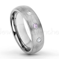 0.21ctw Amethyst & Diamond 3-Stone Tungsten Ring - February Birthstone Ring - 6mm Tungsten Wedding Band - Brushed Finish Comfort Fit Classic Dome Tungsten Carbide Ring TN060-AMT
