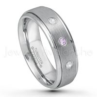 0.21ctw Amethyst & Diamond 3-Stone Tungsten Ring - February Birthstone Ring - 7mm Tungsten Wedding Band - Brushed Finish Comfort Fit Tungsten Carbide Ring - Stepped Edge Tungsten Anniversary Ring TN068-AMT