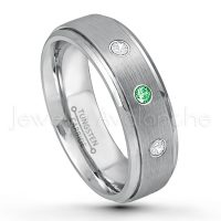 0.21ctw Tsavorite & Diamond 3-Stone Tungsten Ring - January Birthstone Ring - 7mm Tungsten Wedding Band - Brushed Finish Comfort Fit Tungsten Carbide Ring - Stepped Edge Tungsten Anniversary Ring TN068-TVR
