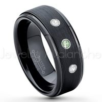 0.21ctw Alexandrite & Diamond 3-Stone Tungsten Ring - June Birthstone Ring - 8mm Tungsten Ring - Brushed Finish Black Ion Plated Comfort Fit Tungsten Carbide Wedding Ring -  Men's Tungsten Anniversary Ring TN083-ALX