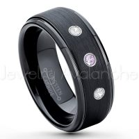 0.21ctw Amethyst & Diamond 3-Stone Tungsten Ring - February Birthstone Ring - 8mm Tungsten Ring - Brushed Finish Black Ion Plated Comfort Fit Tungsten Carbide Wedding Ring -  Men's Tungsten Anniversary Ring TN083-AMT