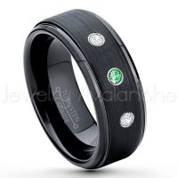 0.21ctw Tsavorite & Diamond 3-Stone Tungsten Ring - January Birthstone Ring - 8mm Tungsten Ring - Brushed Finish Black Ion Plated Comfort Fit Tungsten Carbide Wedding Ring -  Men's Tungsten Anniversary Ring TN083-TVR