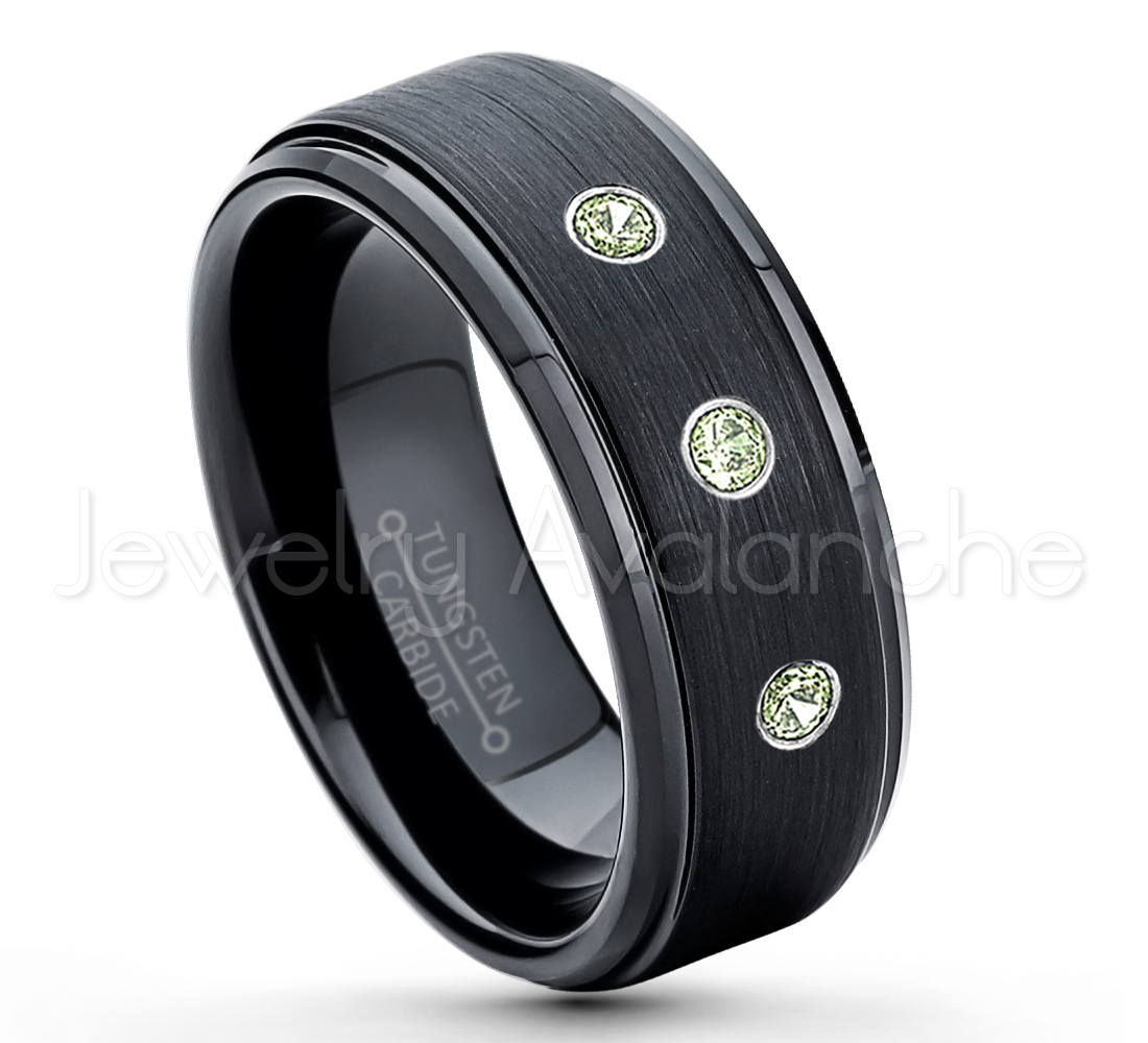 021ctw peridot diamond 3 stone tungsten ring august for Mens wedding rings with birthstones