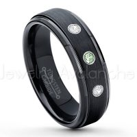 0.21ctw Alexandrite & Diamond 3-Stone Tungsten Ring - June Birthstone Ring - 6mm Tungsten Carbide Ring - Brushed Finish Black Ion Plated Comfort Fit Tungsten Wedding Ring - Anniversary Ring TN085-ALX