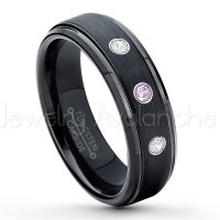 0.21ctw Amethyst & Diamond 3-Stone Tungsten Ring - February Birthstone Ring - 6mm Tungsten Carbide Ring - Brushed Finish Black Ion Plated Comfort Fit Tungsten Wedding Ring - Anniversary Ring TN085-AMT
