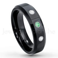 0.21ctw Tsavorite & Diamond 3-Stone Tungsten Ring - January Birthstone Ring - 6mm Tungsten Wedding Ring - Polished Finish Black IP Comfort Fit Tungsten Carbide Ring - Ladies Tungsten Anniversary Ring TN086-TVR