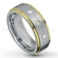 0.21ctw Alexandrite & Diamond 3-Stone Tungsten Ring - June Birthstone Ring - 2-Tone Tungsten Wedding Band - 8mm Brushed Finish Center and Yellow Gold Plated Stepped Edge Comfort Fit Tungsten Carbide Ring TN132-ALX