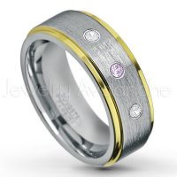 0.21ctw Amethyst & Diamond 3-Stone Tungsten Ring - February Birthstone Ring - 2-Tone Tungsten Wedding Band - 8mm Brushed Finish Center and Yellow Gold Plated Stepped Edge Comfort Fit Tungsten Carbide Ring TN132-AMT