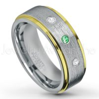 0.21ctw Tsavorite & Diamond 3-Stone Tungsten Ring - January Birthstone Ring - 2-Tone Tungsten Wedding Band - 8mm Brushed Finish Center and Yellow Gold Plated Stepped Edge Comfort Fit Tungsten Carbide Ring TN132-TVR