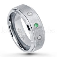 0.21ctw Tsavorite & Diamond 3-Stone Tungsten Ring - January Birthstone Ring - 8mm Tungsten Wedding Band - Brushed Finish Comfort Fit Tungsten Carbide Ring - Stepped Edge Tungsten Anniversary Ring TN162-TVR