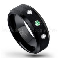 0.21ctw Tsavorite & Diamond 3-Stone Tungsten Ring - January Birthstone Ring - 8mm Tungsten Wedding Band - Brushed Finish Black Ion Plated Beveled Edge Comfort Fit Tungsten Carbide Ring TN166-TVR