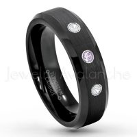 0.21ctw Amethyst & Diamond 3-Stone Tungsten Ring - February Birthstone Ring - 6mm Tungsten Wedding Ring - Brushed Finish Black IP Comfort Fit Tungsten Carbide Ring - Ladies Tungsten Anniversary Ring TN168-AMT
