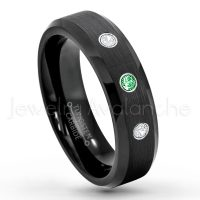 0.21ctw Tsavorite & Diamond 3-Stone Tungsten Ring - January Birthstone Ring - 6mm Tungsten Wedding Ring - Brushed Finish Black IP Comfort Fit Tungsten Carbide Ring - Ladies Tungsten Anniversary Ring TN168-TVR