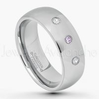 0.21ctw Amethyst & Diamond 3-Stone Tungsten Ring - February Birthstone Ring - 7mm Comfort Fit Tungsten Wedding Band - Polished Finish Classic Dome Tungsten Carbide Ring - Men's Tungsten Anniversary Ring TN175-AMT