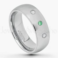 0.21ctw Tsavorite & Diamond 3-Stone Tungsten Ring - January Birthstone Ring - 7mm Comfort Fit Tungsten Wedding Band - Polished Finish Classic Dome Tungsten Carbide Ring - Men's Tungsten Anniversary Ring TN175-TVR