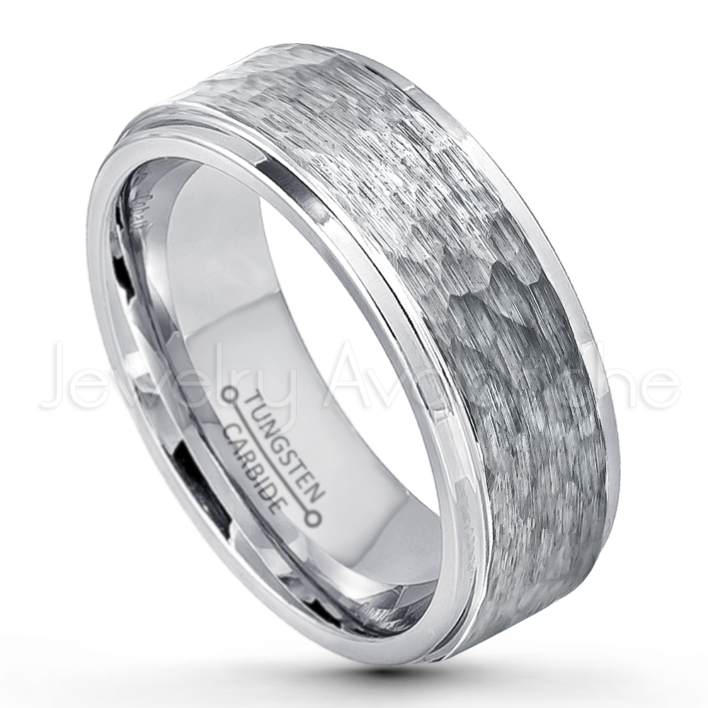 9mm Hammered Finish Tungsten Wedding Band Stepped Edge Comfort Fit Carbide Ring Men S