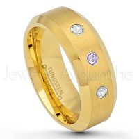 0.21ctw Amethyst & Diamond 3-Stone Tungsten Ring - February Birthstone Ring - 8mm Tungsten Wedding Ring - Brushed Finish Yellow Gold Plated Comfort Fit Tungsten Carbide Ring - Tungsten Anniversary Ring TN210-AMT