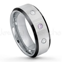 0.21ctw Amethyst & Diamond 3-Stone Tungsten Ring - February Birthstone Ring - 8mm Tungsten Wedding Band - Polished Black Ion Plated Beveled Edge Comfort Fit Tungsten Ring - Men's Anniversary Ring TN218-AMT